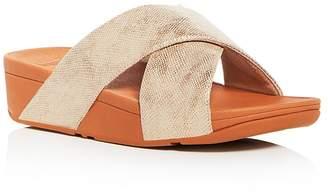 FitFlop Women's Lulu Snake Embossed Crisscross Platform Wedge Slide Sandals