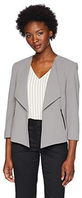 Kasper Women's Petite Wing Lapel Drapey Crepe Fly Away Jacket
