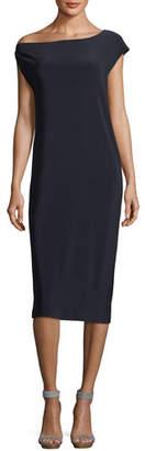 Norma Kamali Drop-Shoulder Straight Cocktail Dress