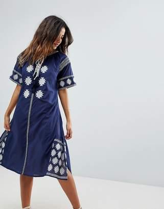 Liquorish Midi Embroidered Beach Dress
