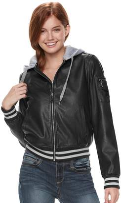 Steve Madden Nyc NYC Juniors' Hooded Faux-Leather Jacket