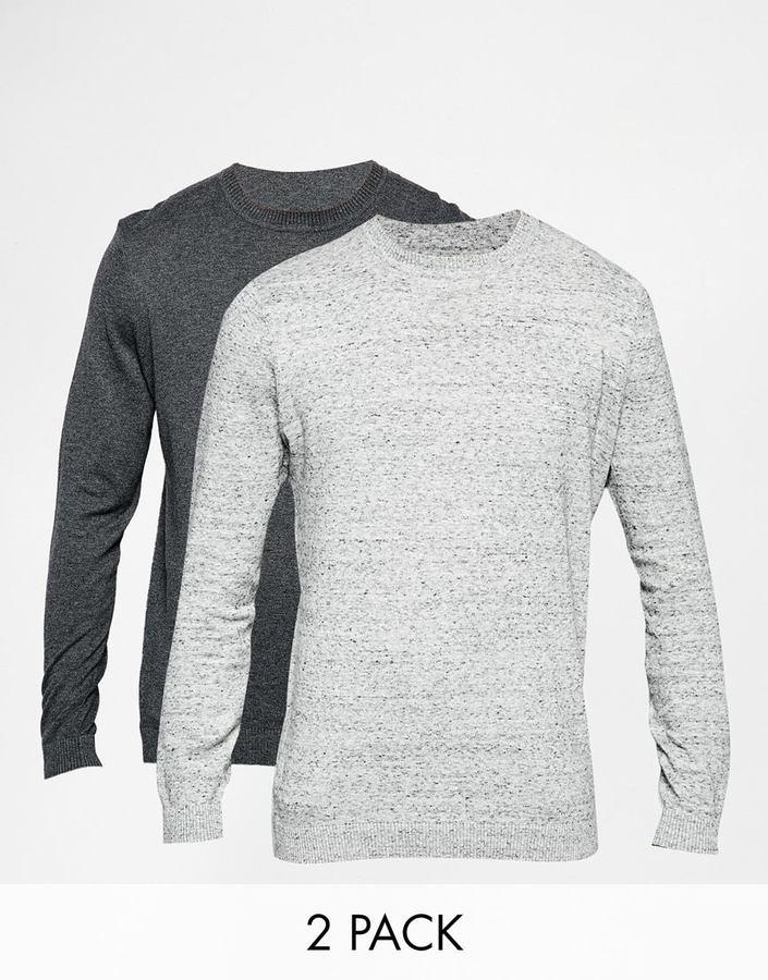 ASOS BRAND ASOS Cotton Crew Neck Sweater 2 Pack SAVE 17%