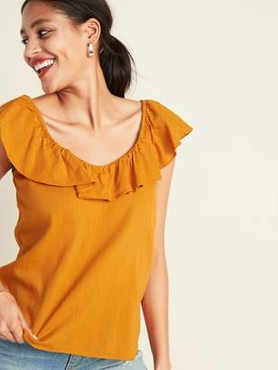 Old Navy Ruffled-Neck Slub-Weave Top for Women