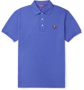 Ralph Lauren Purple Label Slim-Fit Embroidered Mercerised Cotton-Piqué Polo Shirt