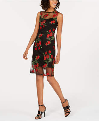 Calvin Klein Embroidered Floral Illusion Dress