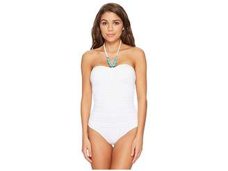 Lauren Ralph Lauren Beach Club Bead Necklace One-Piece Bandeau Slimming Fit w/ Molded Cup Women's Swimsuits One Piece