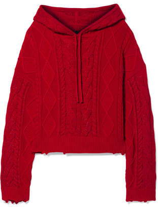RtA Marvin Hooded Cable-knit Cotton Sweater - Red