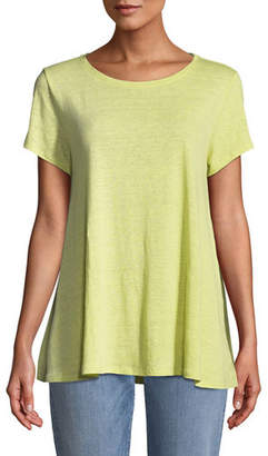 Eileen Fisher Short-Sleeve Organic Linen Jersey Swing Tee