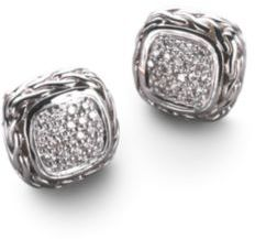 John Hardy Classic Chain Diamond & Sterling Silver Small Square Stud Earrings $1,200 thestylecure.com