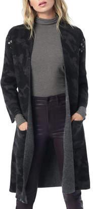 Joe's Jeans Kiera Camo Open-Front Long Cardigan with Grommets