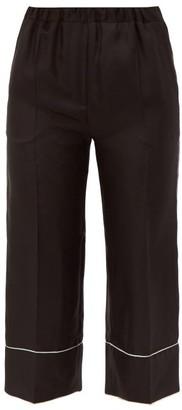 Valentino Cropped Silk Pyjama Trousers - Womens - Black White