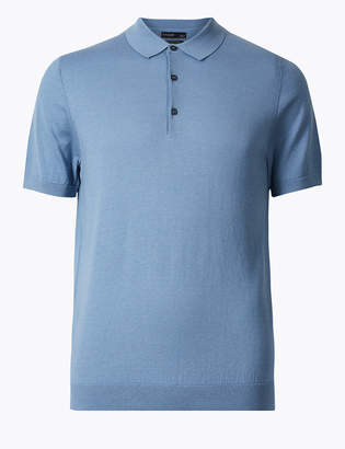 fb0d708546a AutographMarks and Spencer Silk Cotton Knitted Polo Shirt