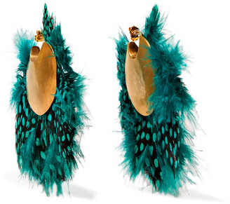 Katerina Makriyianni - Gold-plated Feather Earrings - Green