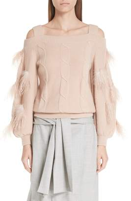 Adeam Off the Shoulder Cashmere Sweater with Feather Trim