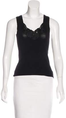 Oscar de la Renta Embroidered Sleeveless Top