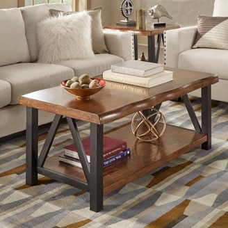 Weston Home Metal Base Cocktail Table With Natural Edge Table Top and Lower Shelf