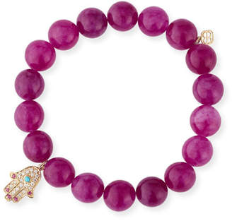 Sydney Evan 10mm Beaded Berry Jade Bracelet with Diamond & Ruby Hamsa Charm