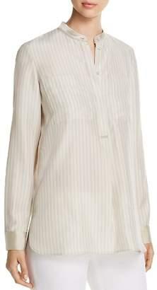Lafayette 148 New York Polina Silk Pinstripe Henley Blouse - 100% Exclusive