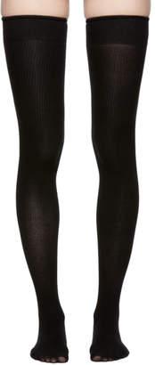 Marieyat Black Doodle Thigh-High Socks