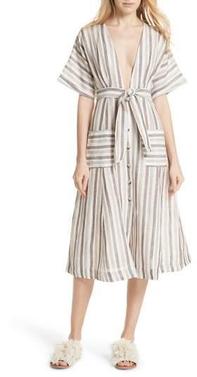 Monday Stripe Linen Blend Midi Dress