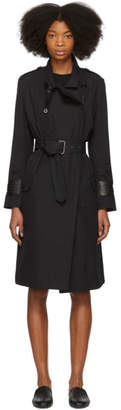 Bottega Veneta Black Intrecciato Cuff Trench Coat
