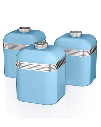 Swan Retro Set of 3 Canisters Sky Blue