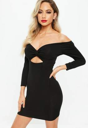 Missguided Black Jersey Bardot Twist Front Bodycon Dress