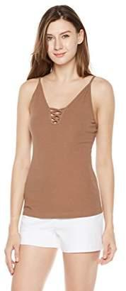 Plumberry Women's Summer V-Neck Cami Spaghetti Strap Criss Cross Lace up Basic T-Shirt Tank Tops