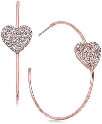 Kate Spade Rose Gold-Tone Pave Heart Hoop Earrings