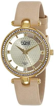 Burgi Women's Swiss Quartz Watch with Analogue Gold Dial Analogue Display and Cream Strap BUR104YG