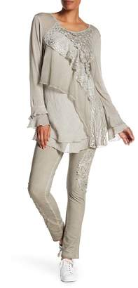 Issue New York Crochet Knit Long Sleeve Blouse & Pull-On Pants 2-Piece Set