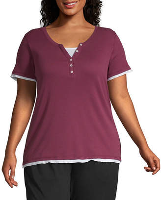 ST. JOHN'S BAY SJB ACTIVE Active Short Sleeve Two-Fer Tee - Plus