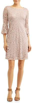 Generic Women's Lace A-Line Empire Dress with Bell Sleeves
