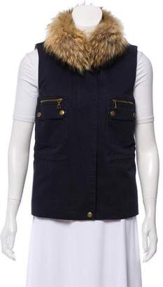 Yves Salomon Army by Fur-Trimmed Zip-Up Vest w/ Tags