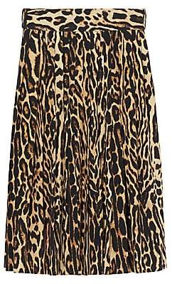 Burberry Women's Leopard Print Pleated Skirt