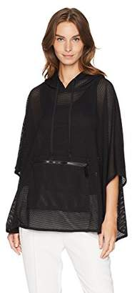 Steve Madden Women's Mini Mesh HI-LO Hooded Poncho
