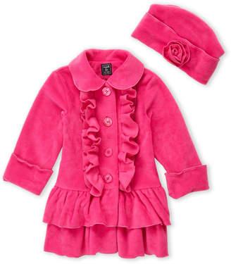 Co Mack & Toddler Girls) Two-Piece Pink Ruffle Fleece Coat & Hat Set