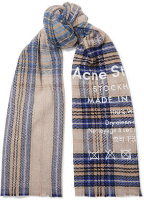 Acne Studios Checked Wool Scarf - Beige