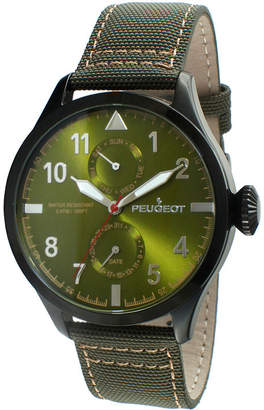 Peugeot Mens Green Strap Aviator Watch 2044BGR