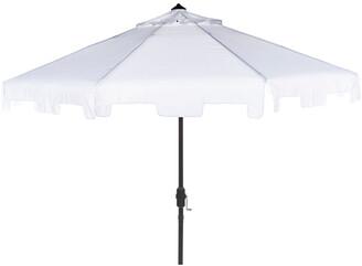 Safavieh Up Resistant Zimmerman 9 Ft Crank Market Push Button Tilt Umbrella With Flap