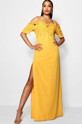 boohoo Tall Crochet Lace Trim Maxi Dress