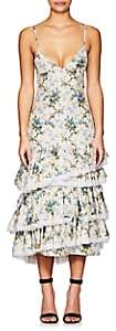Brock Collection Women's Desi Floral Silk Taffeta Midi-Dress - Blue