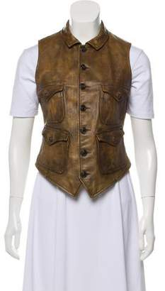 Ralph Lauren Leather Button-Up Vest