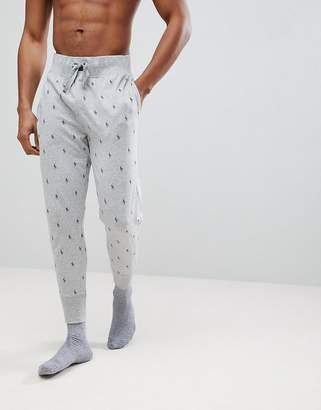 Polo Ralph Lauren All Over Player Print Lightweight Cuffed Joggers In Grey Marl
