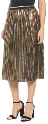 Moon River Metallic Pleat Midi Skirt