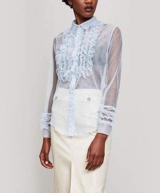 ALEXACHUNG Ruffle-Front Tulle Blouse