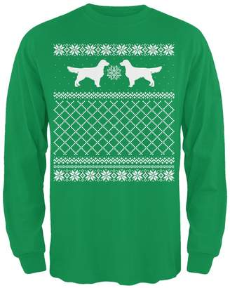 Golden Retriever Animal World Ugly Christmas Sweater Irish Adult Long Sleeve T-Shirt - 2X-Large
