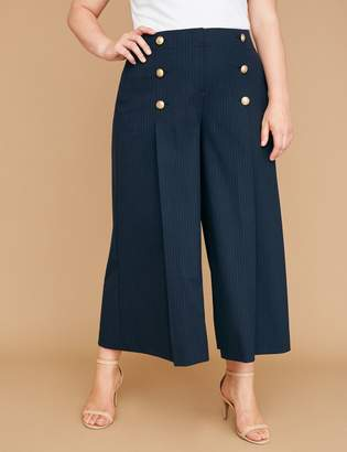 Lane Bryant Wide Leg Crop - Striped with Buttons