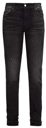 Amiri - Stack Distressed Slim Leg Jeans - Mens - Black