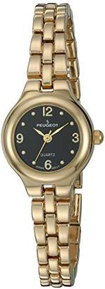 Peugeot Women's 14k Gold Plated Black Face Petite Link Bracelet Dress Watch 1015GBK